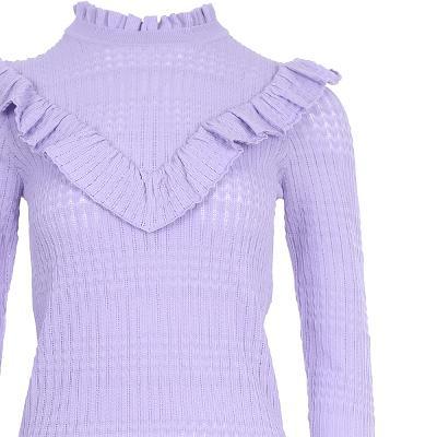 frill detail v-yoke knit top